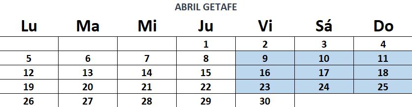 calendario de curso de socorrismo abril getafe